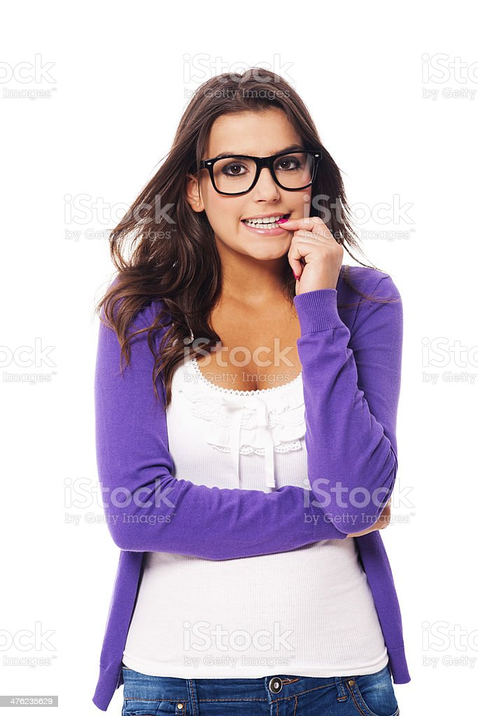 Scared woman wearing fashion glasses royalty-free stock photo