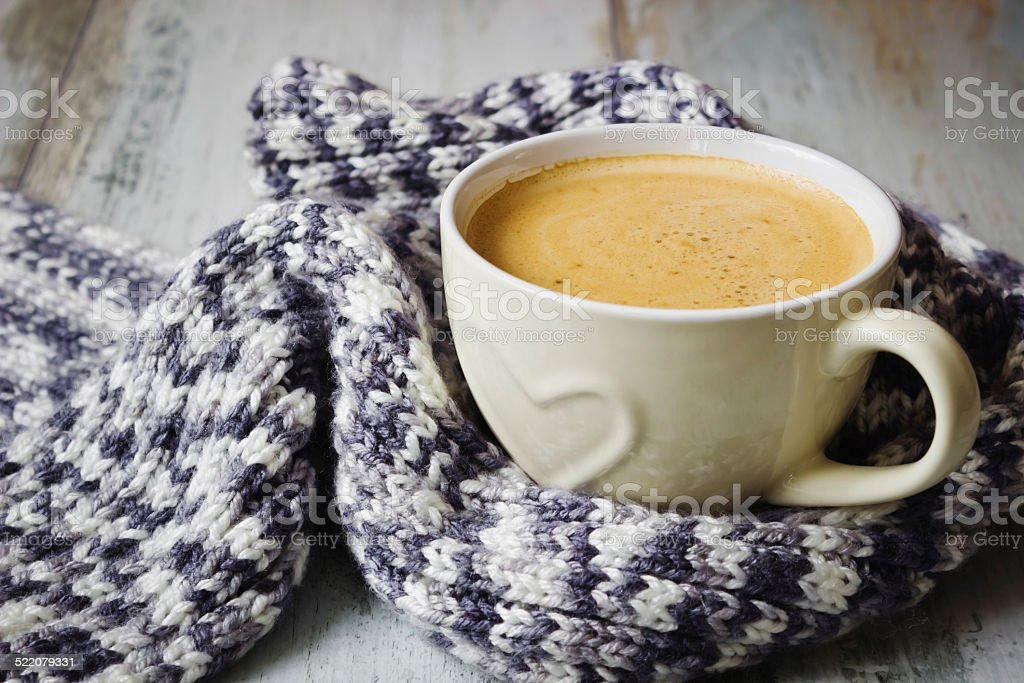 scarf and coffee stock photo