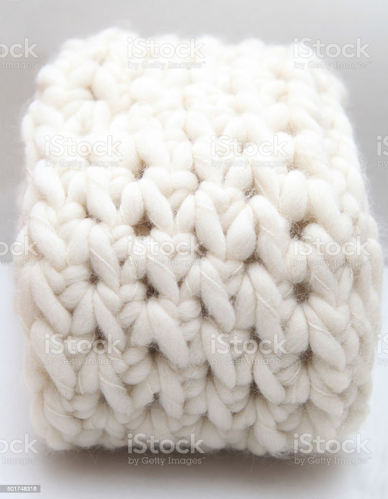 Scarf done in half double crochet background stock photo