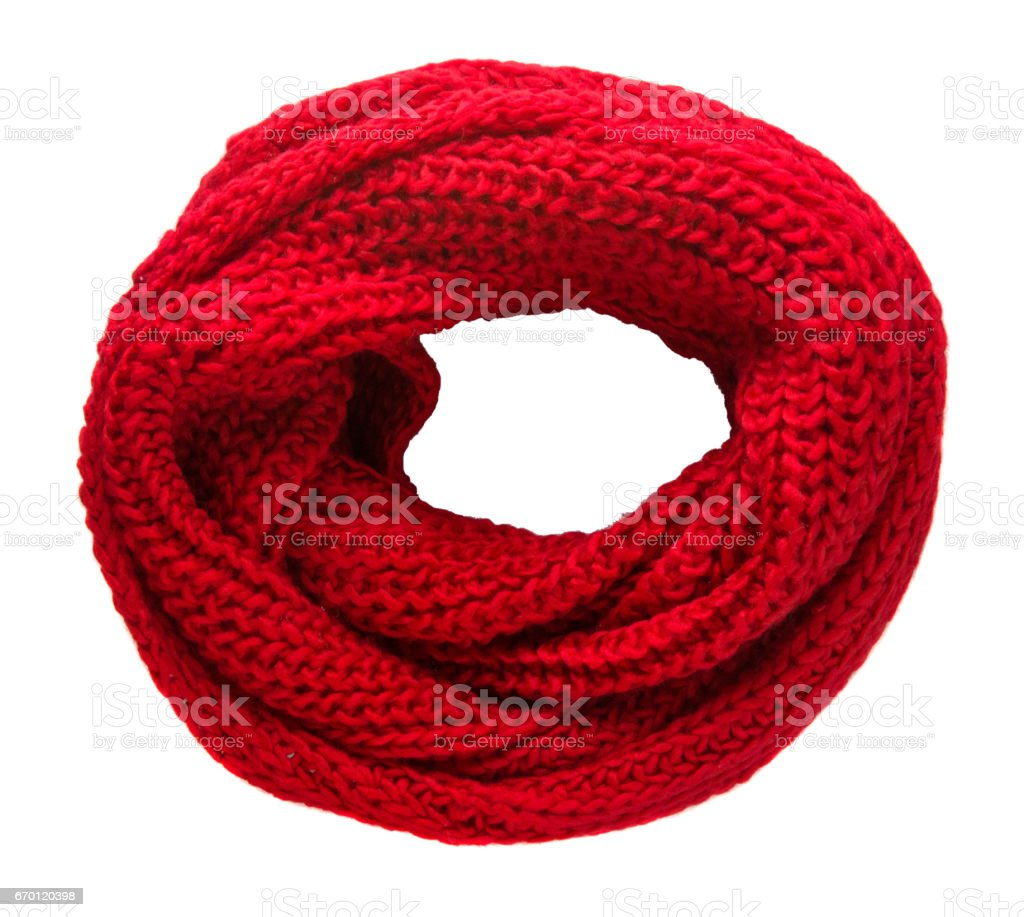 Scarf isolated on white background.Scarf  top view .red scarf stock photo