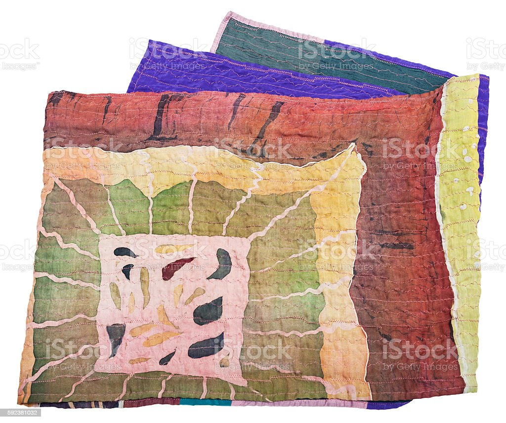 scarf sewn from clenched painted silk batik stock photo