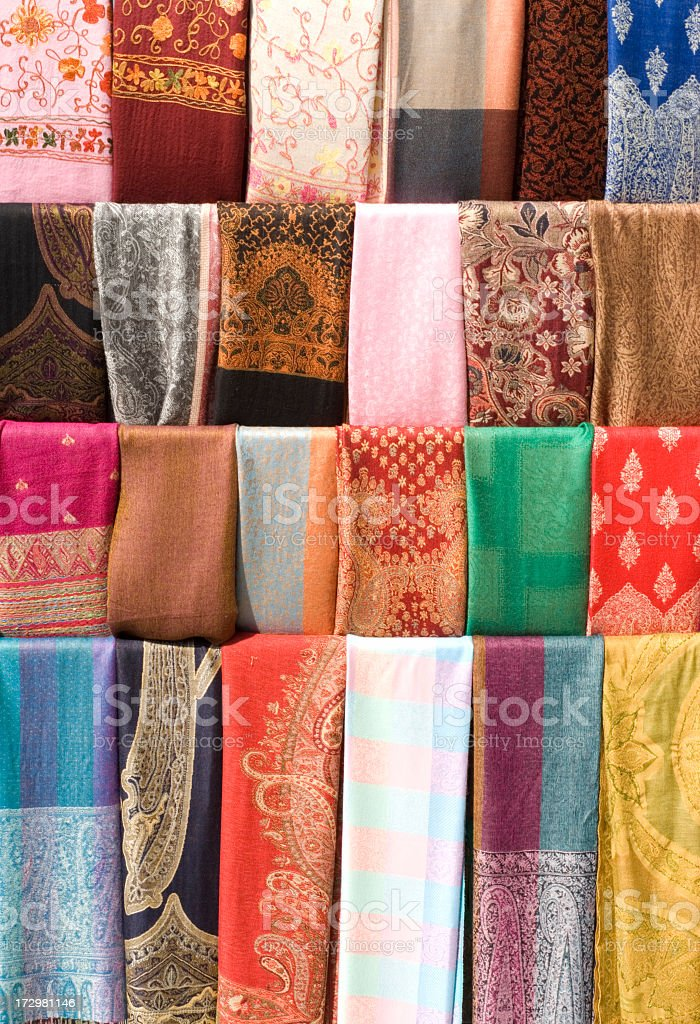 Scarfs at Bazaar royalty-free stock photo