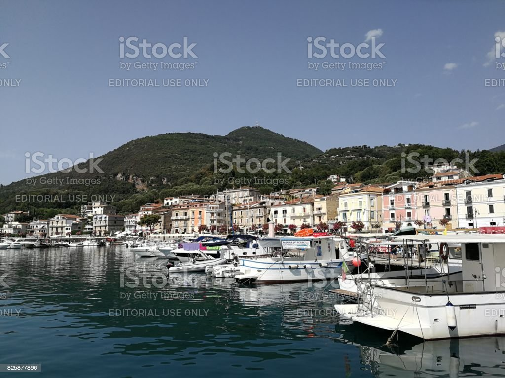 Scario - Panorama del porto dalla barca stock photo