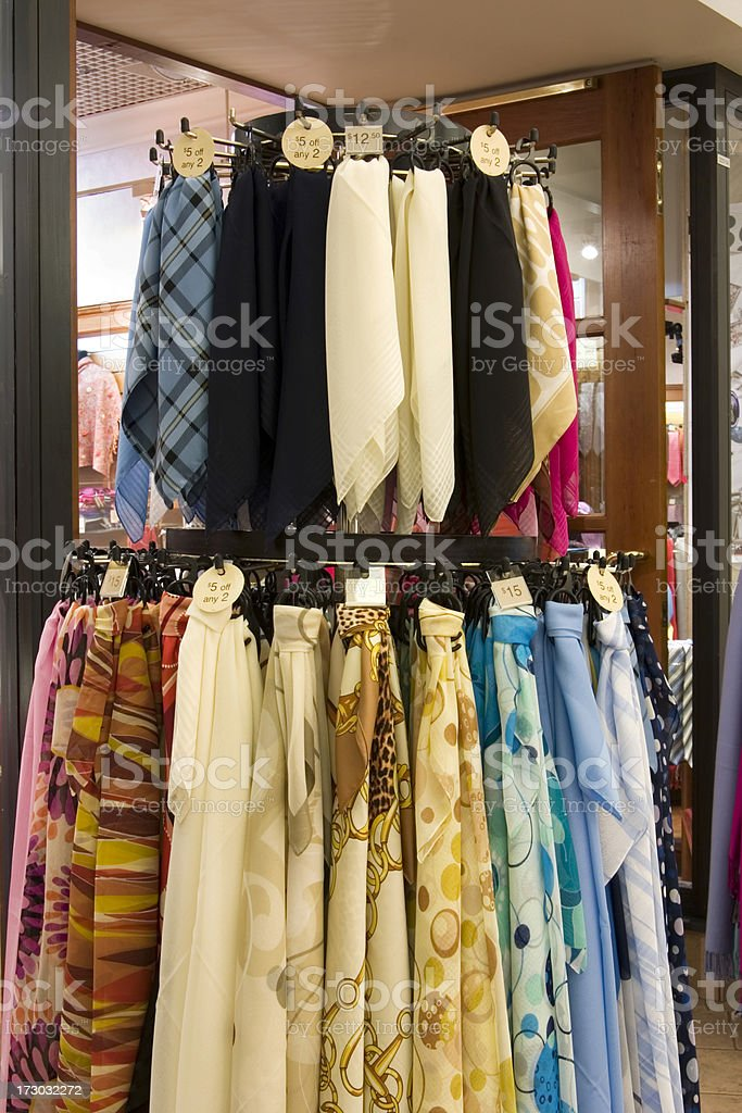 Scarves for sale royalty-free stock photo