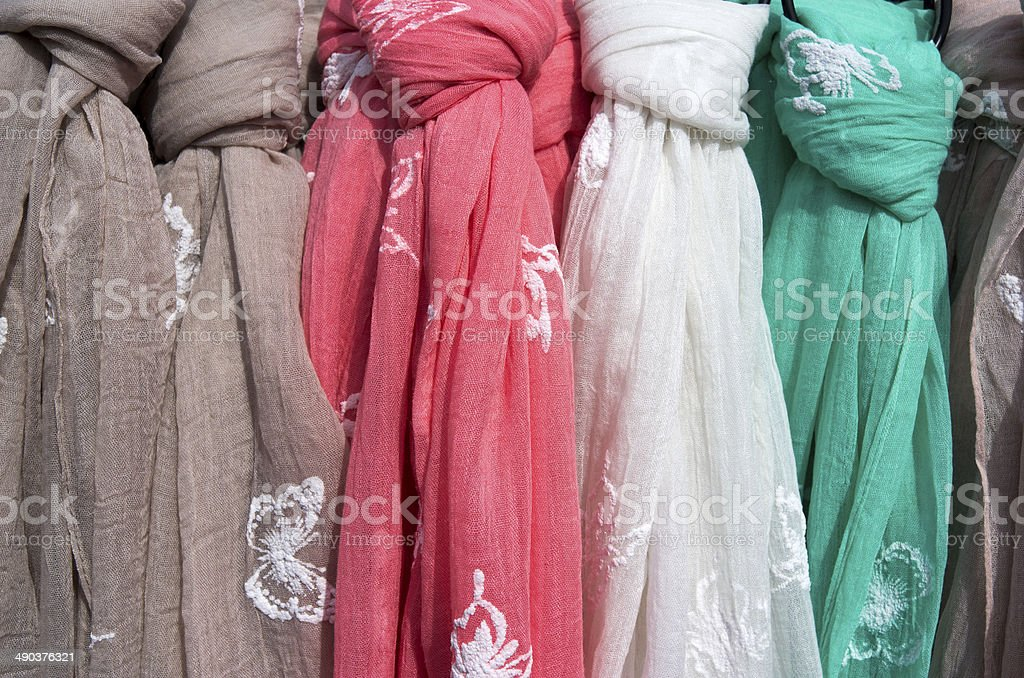 Scarves for sale. royalty-free stock photo