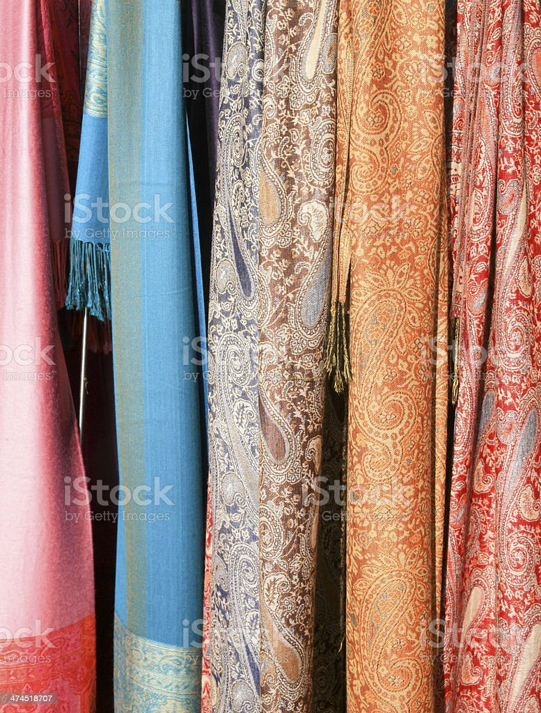 Scarves on Outdoor Stand, Venice, Italy stock photo