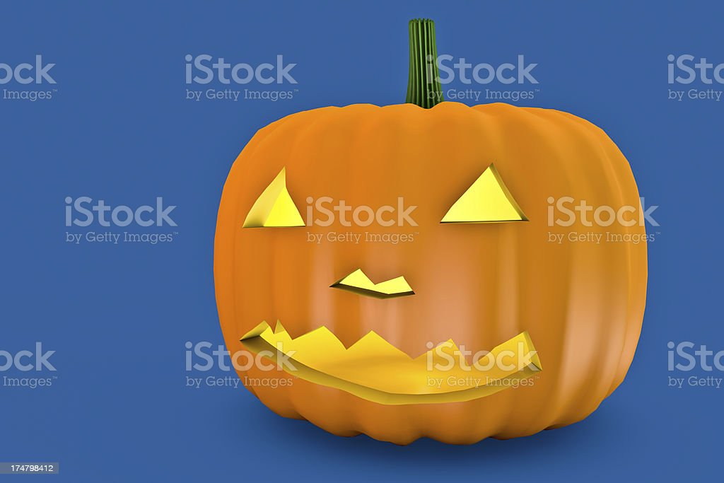 3D Scary Blue background Halloween Pumpkin with fire eyes royalty-free stock photo