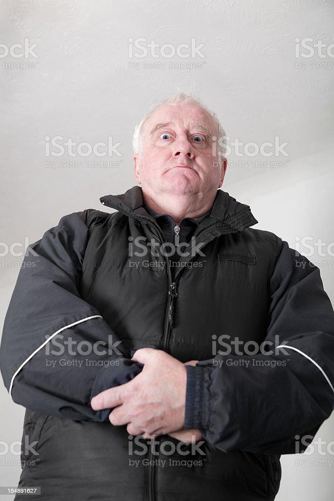 Scary bouncer man on plain background stock photo