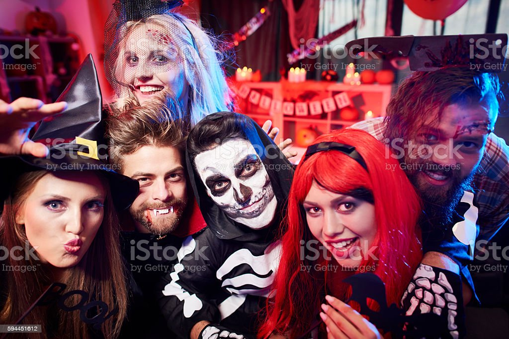 Scary costumes at the party stock photo