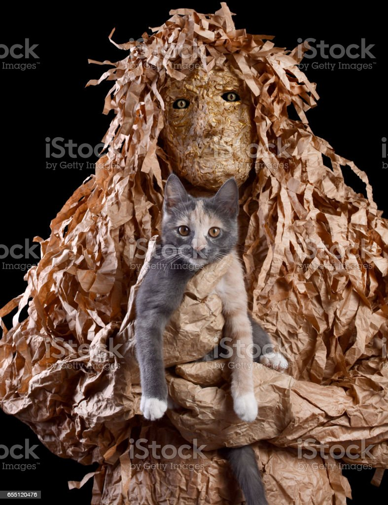 Scary creature keeps on hand a cat on a black background stock photo