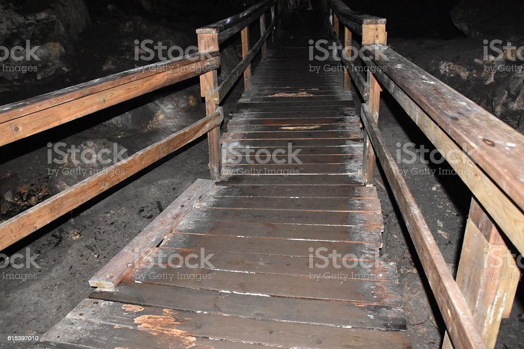 Scary dark wooden bridge stock photo