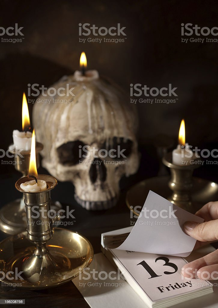 Scary date of Friday 13th royalty-free stock photo