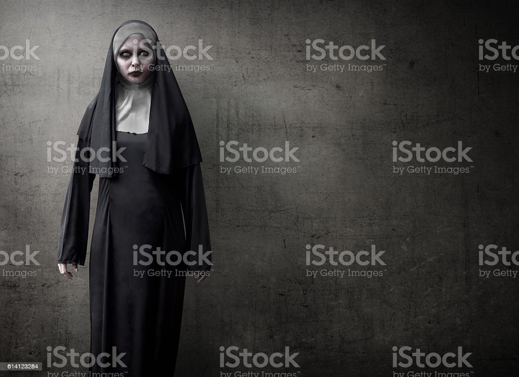 Scary Devil Nun stock photo