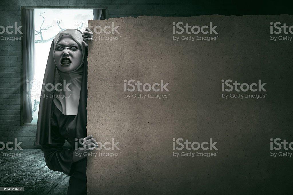 Scary Devil Nun stock photo