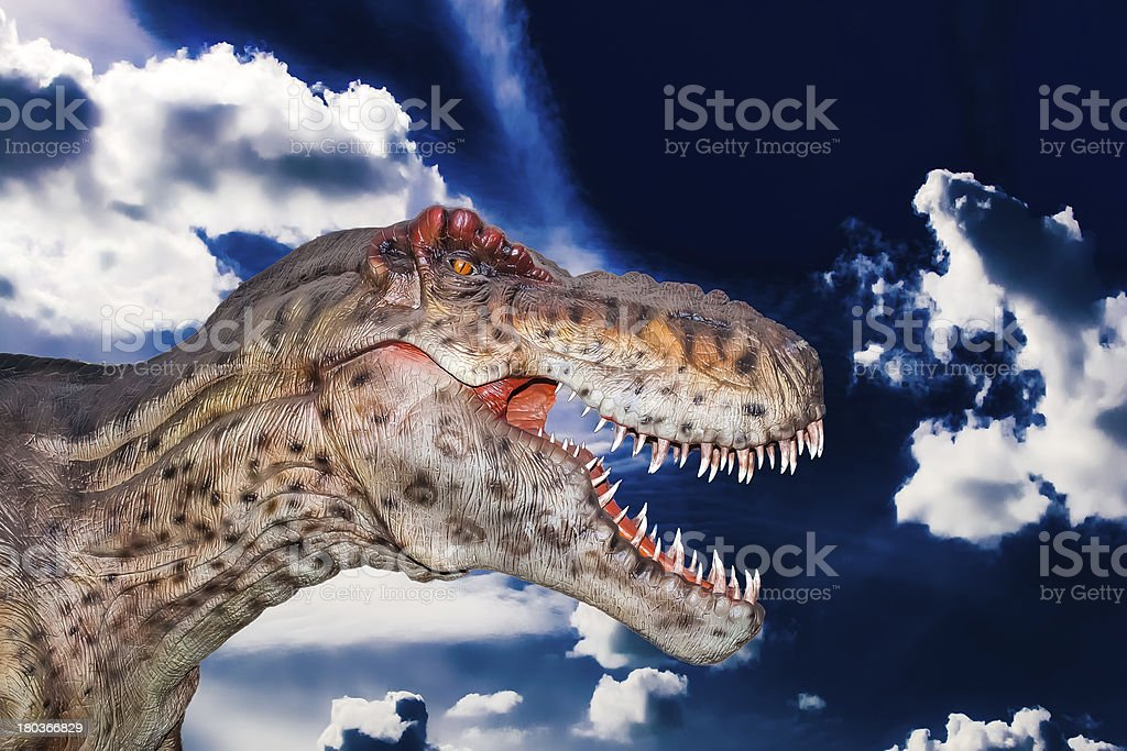 Scary Dino gigantosaurus in a dark sky royalty-free stock photo