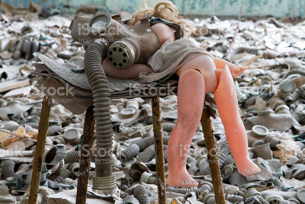 Scary doll with Chernobyl Pripyat stock photo
