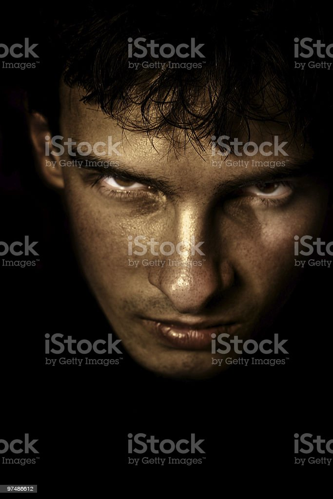 Scary face in the shadow royalty-free stock photo