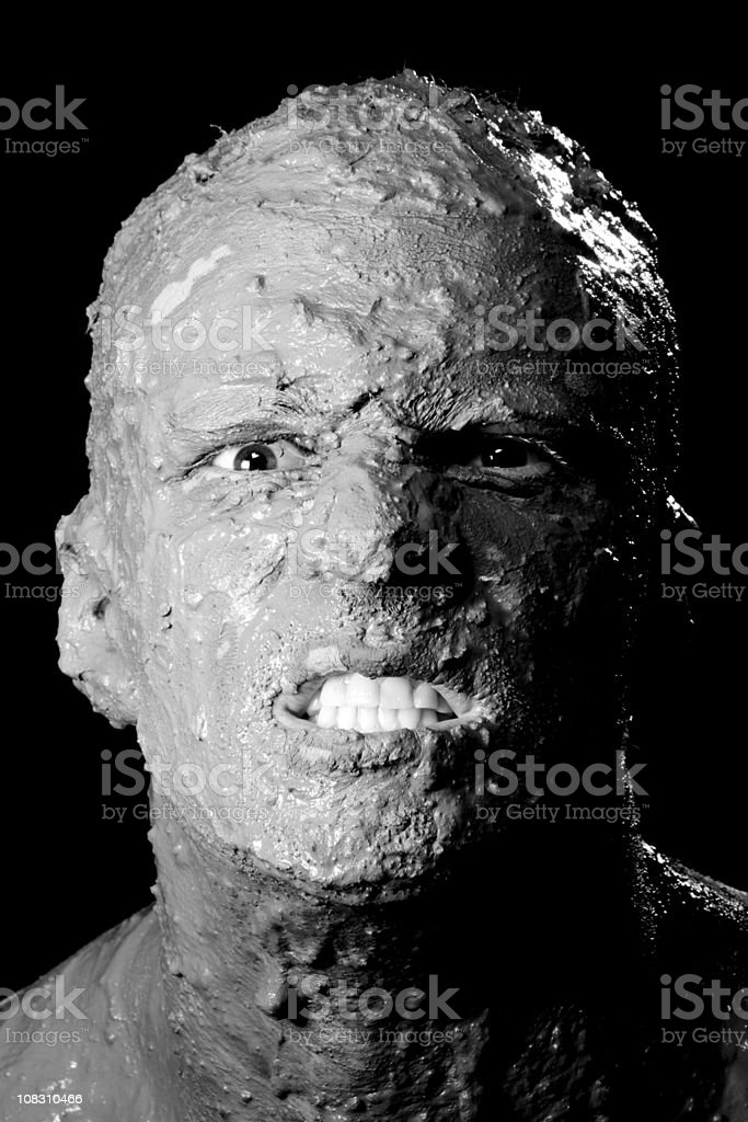 Scary face on black royalty-free stock photo