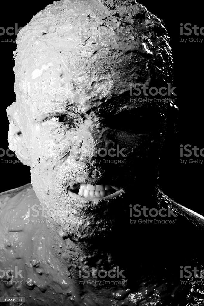 Scary face on black stock photo