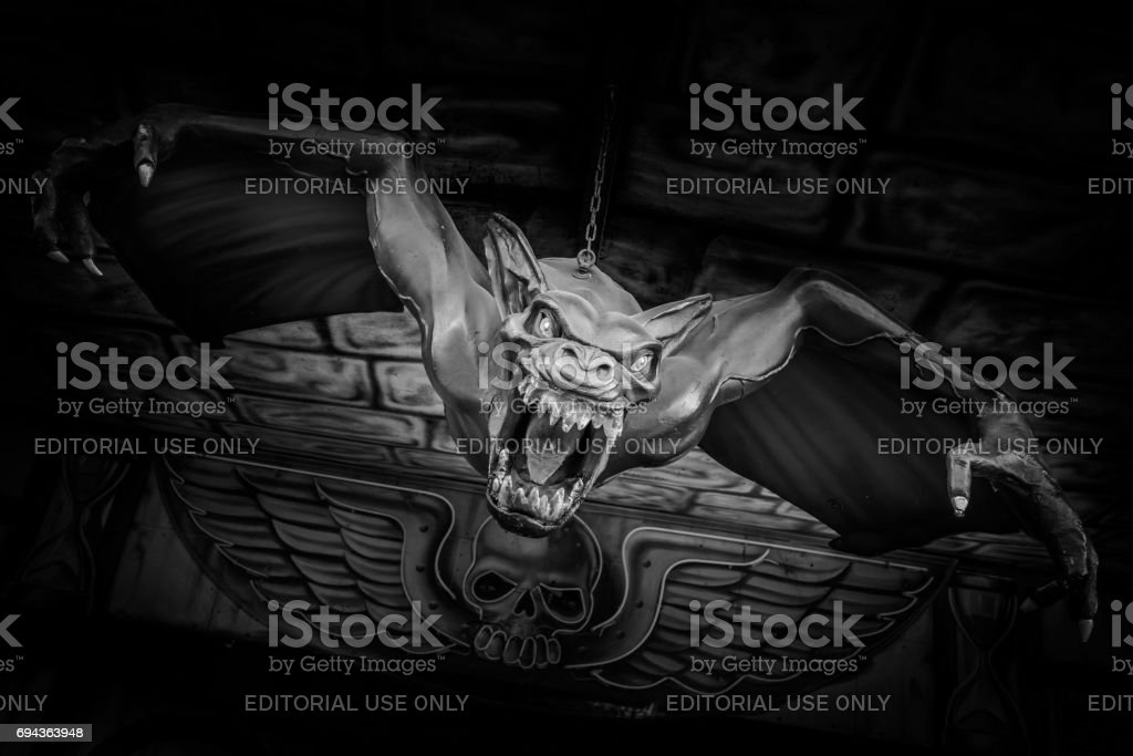 Scary figure at a haunted house at a folk festival in Regensburg stock photo