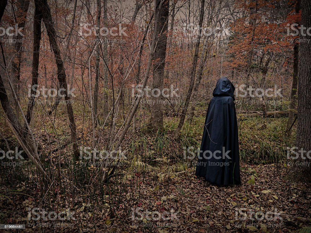 Scary figure in the forest 2 stock photo