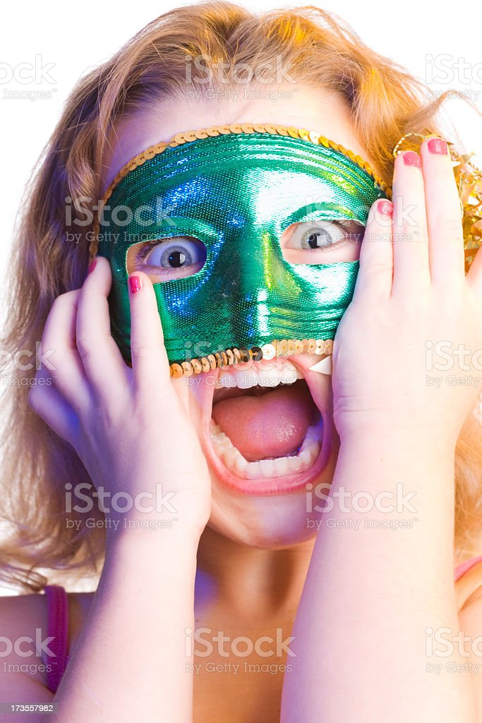 Scary Girl in Mardi Gras Mask royalty-free stock photo