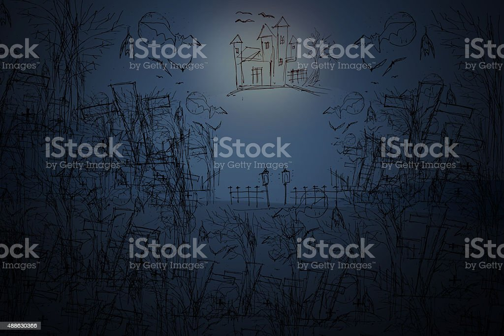 Scary graveyard and farmhouse in the woods - Halloween backgroun stock photo