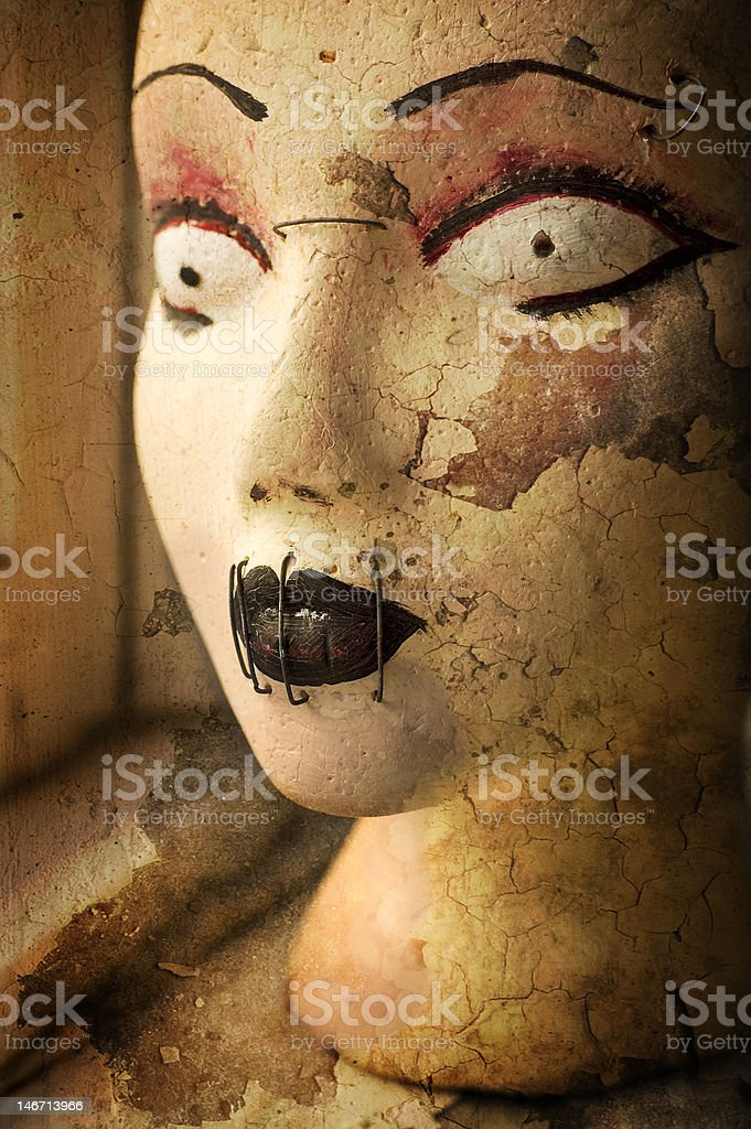 Scary grunge mannequin head stock photo