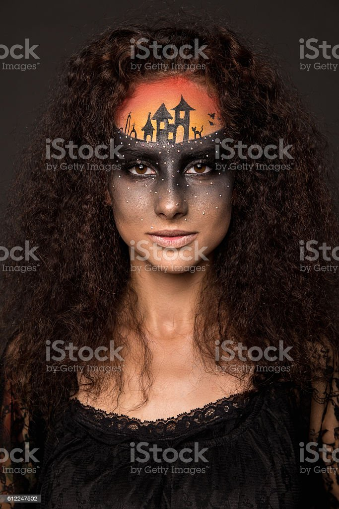 Scary Halloween Bride with Concept Scary Makeup stock photo