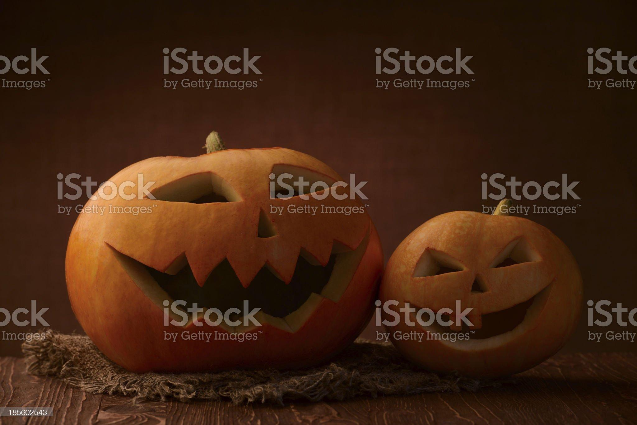 Scary halloween pumpkin jack-o-lantern royalty-free stock photo