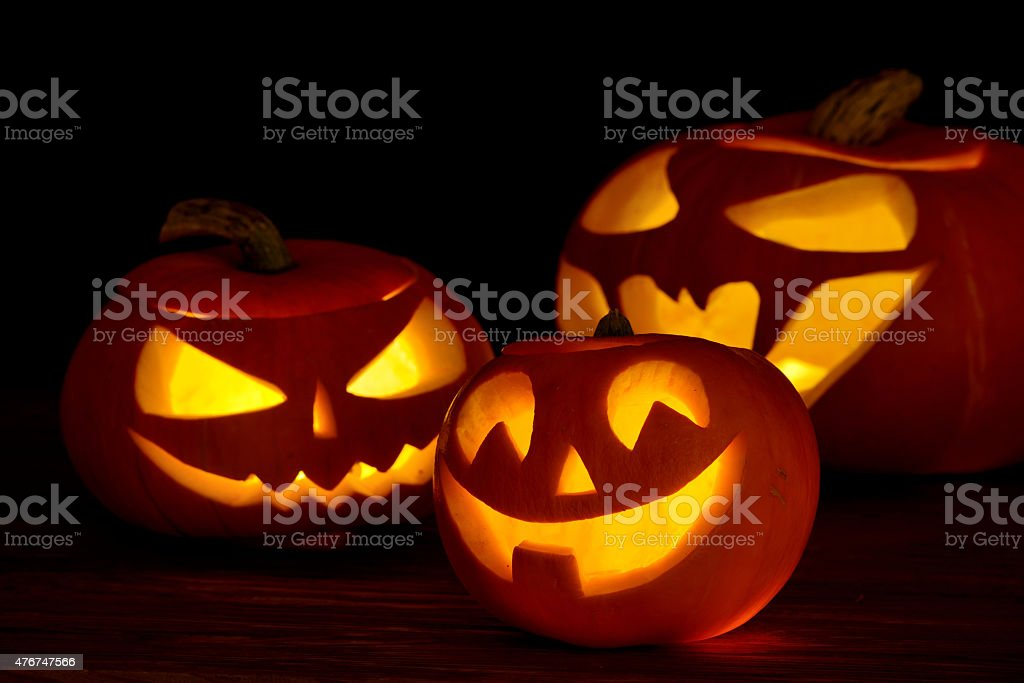 Scary halloween pumpkins jack-o-lantern stock photo