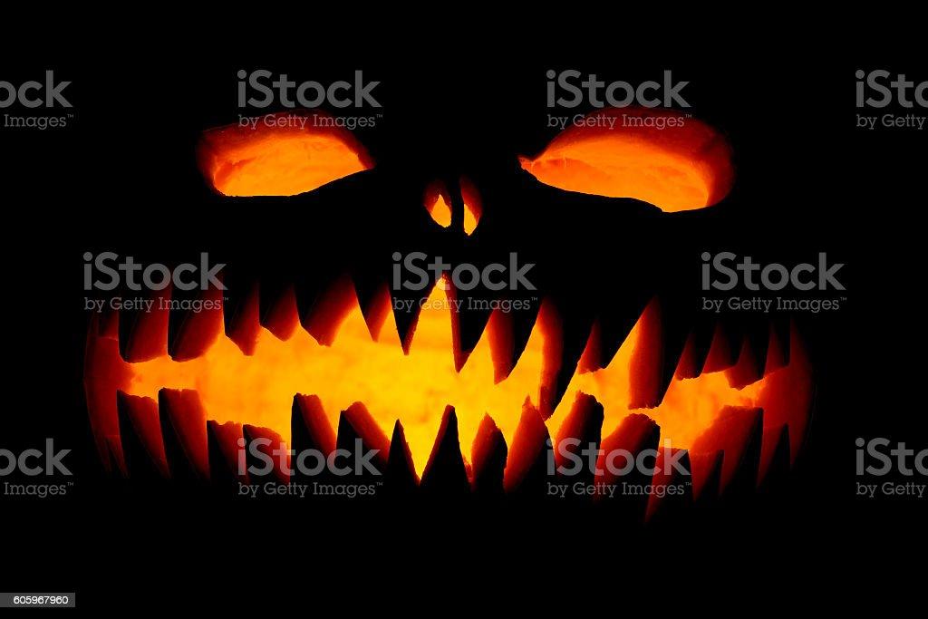 Scary Halloween pumpkins stock photo