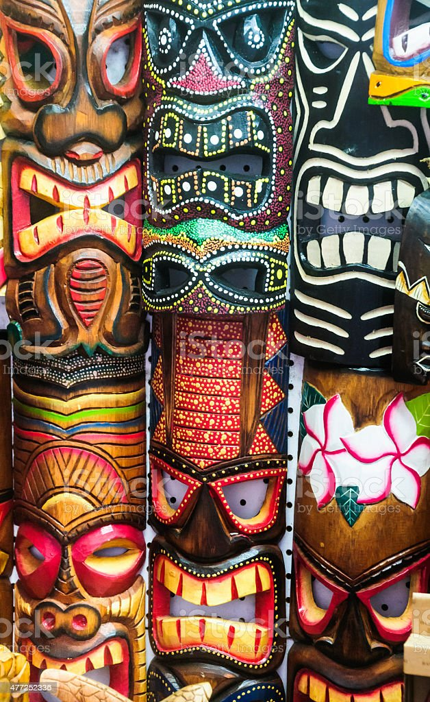 Scary Hawaiian Masks stock photo