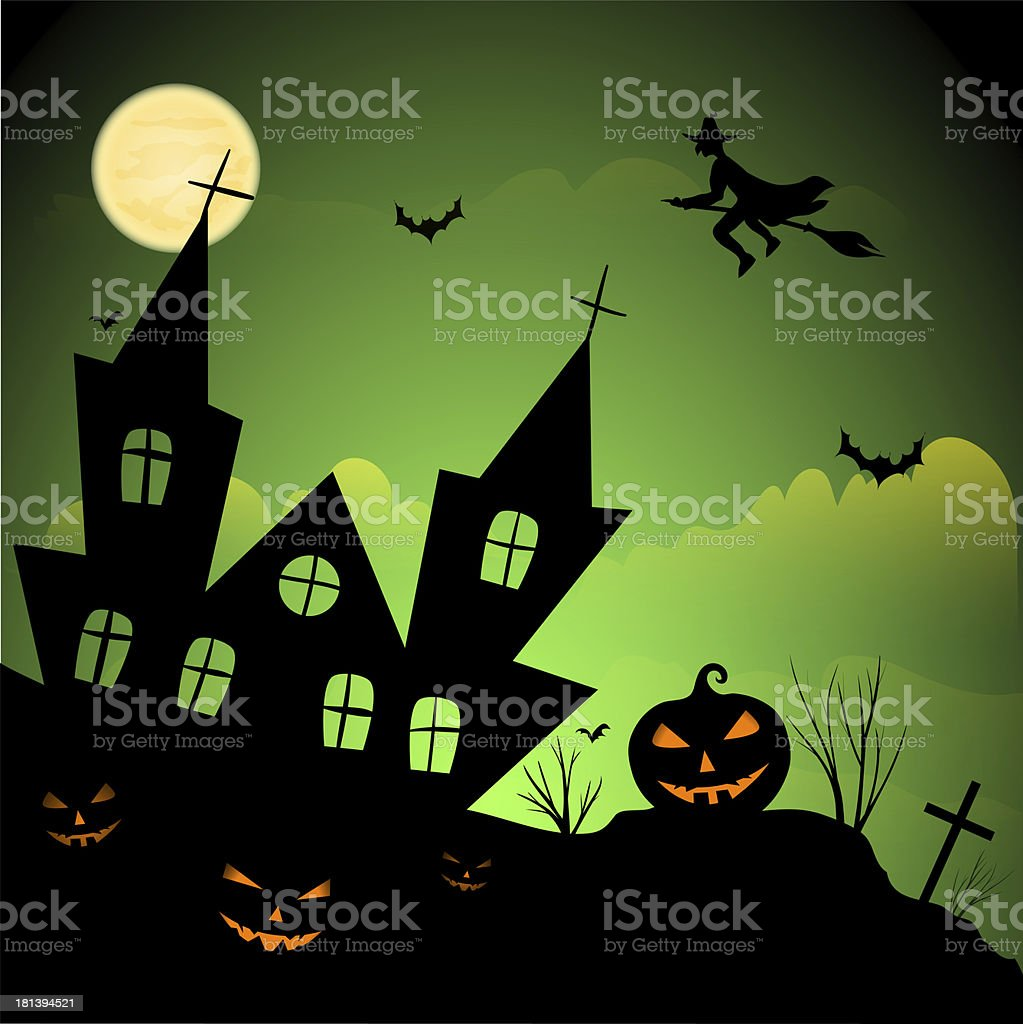 Scary house - Halloween background royalty-free stock vector art