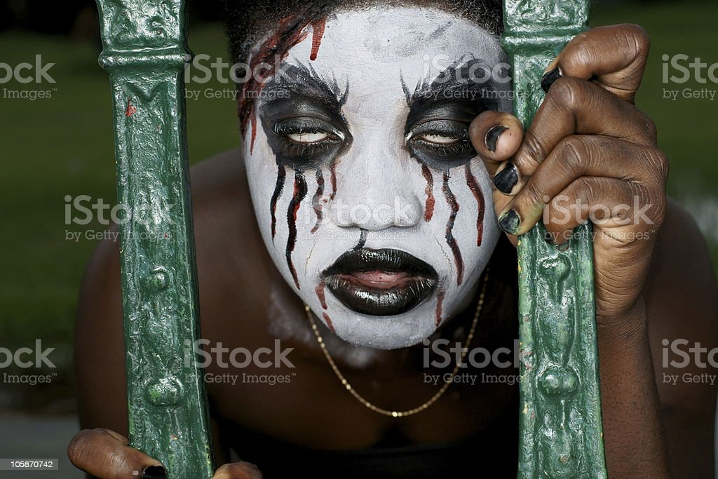scary looking woman stock photo