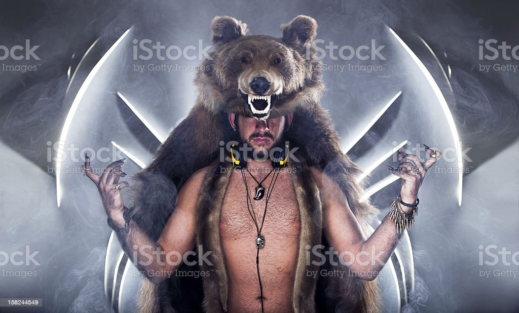 Scary man in a bear coat with scar royalty-free stock photo