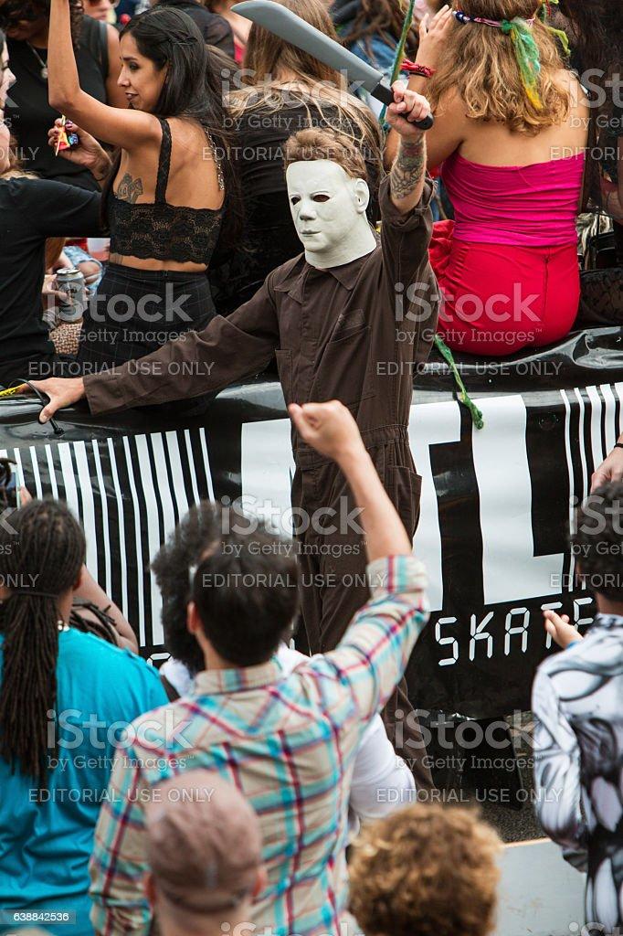 Scary Michael Myers Movie Character Walks In Atlanta Halloween Parade stock photo