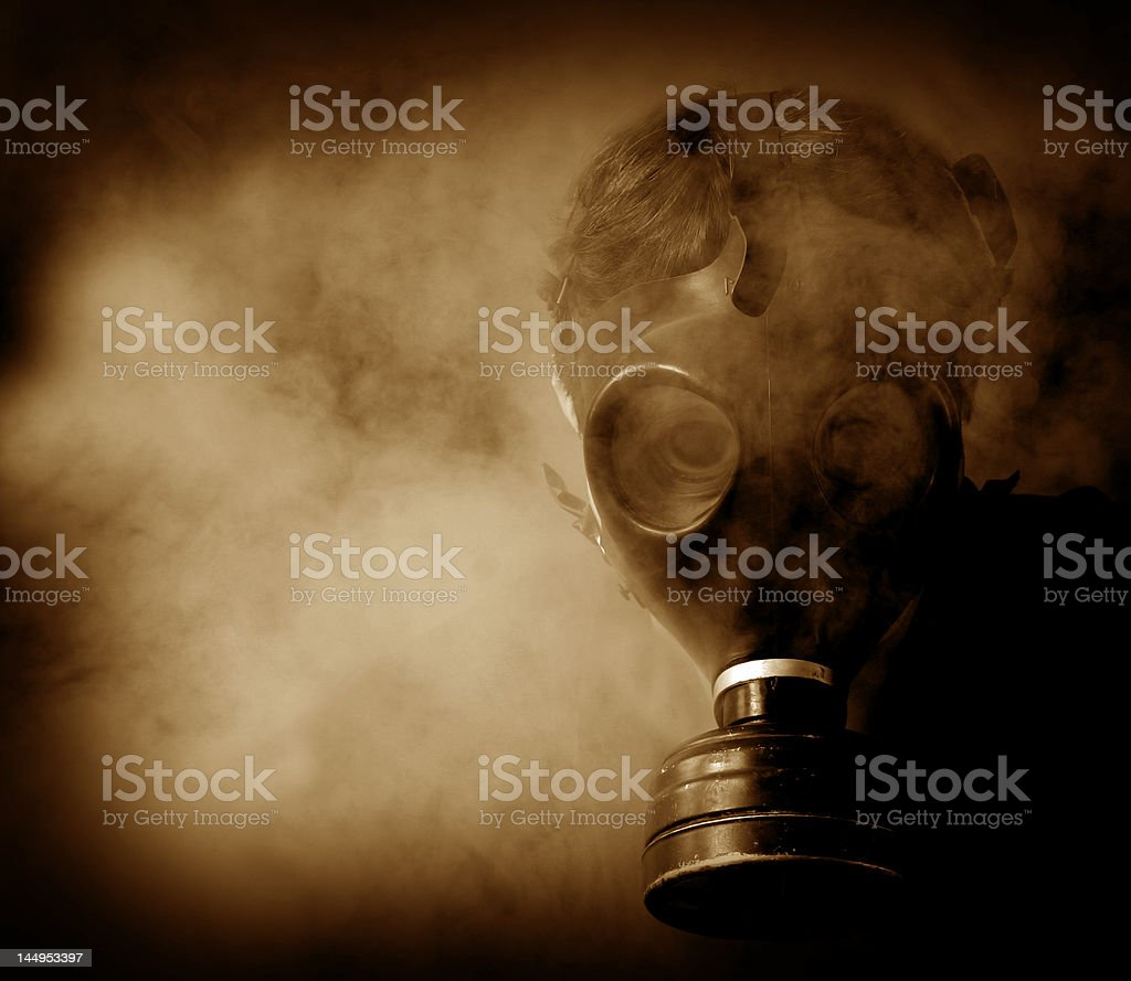 Scary Nightmarish Creature in Gasmask royalty-free stock photo