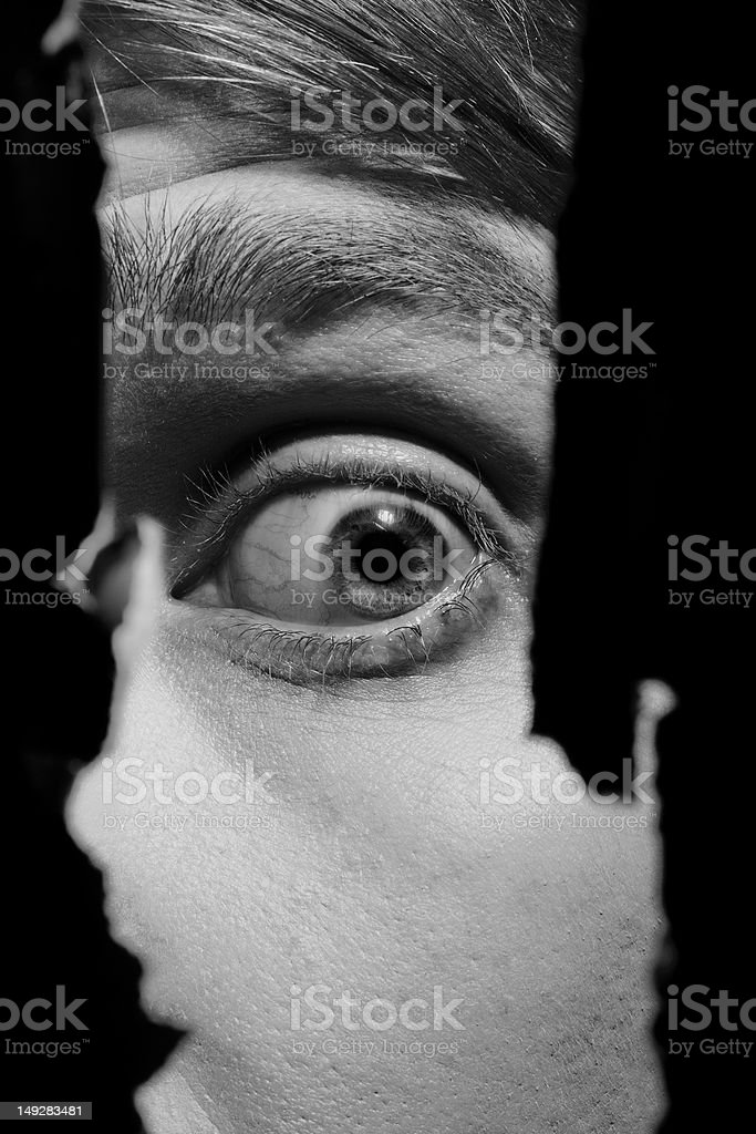 Scary partial view of a man's face stock photo