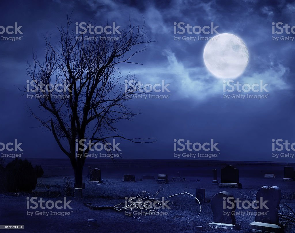 Scary Prairie Cemetery royalty-free stock photo