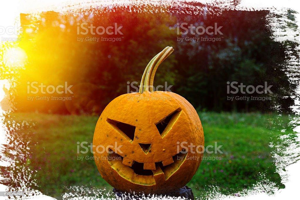 scary pumpkin for Halloween stock photo