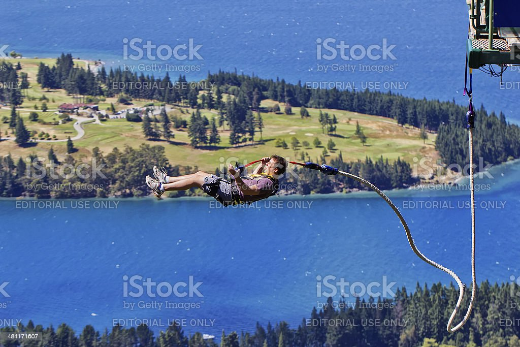 Scary Queenstown bungy (bungee) jump stock photo