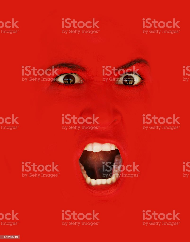 Scary red snarl to yell and scream stock photo