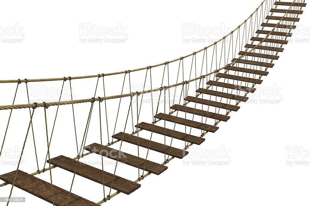 Scary rope bridge stock photo