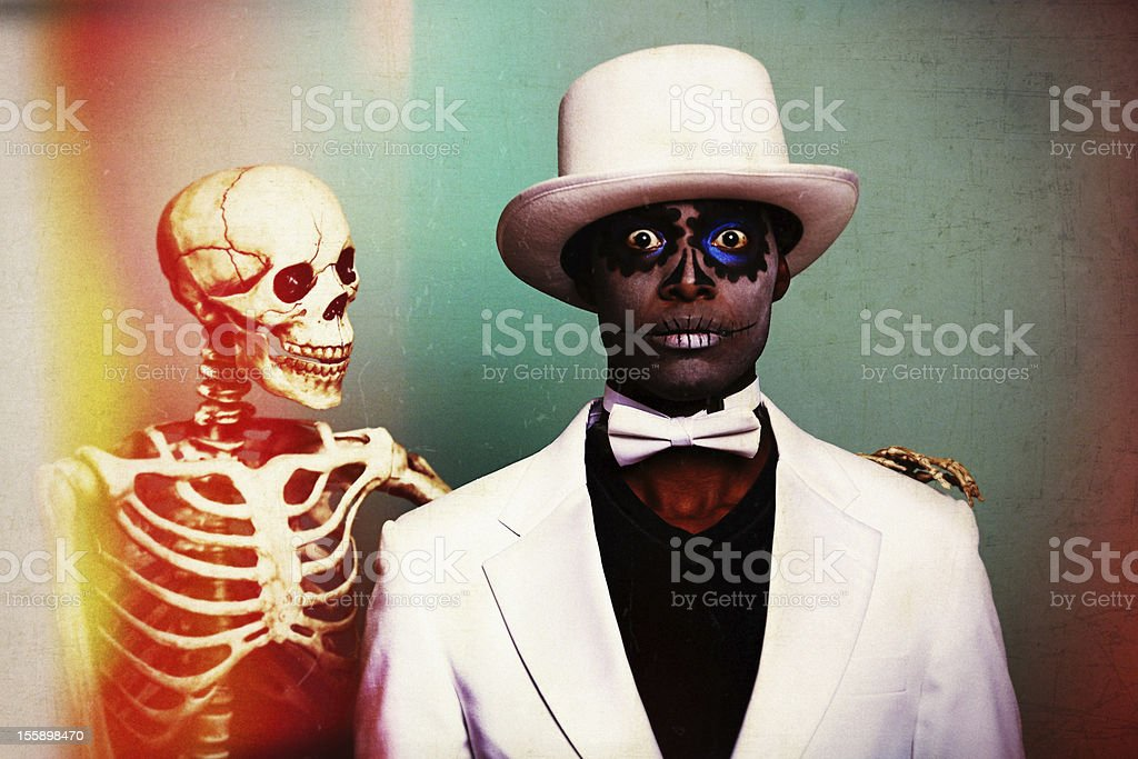 Scary Sugar Skull man with a skeleton royalty-free stock photo