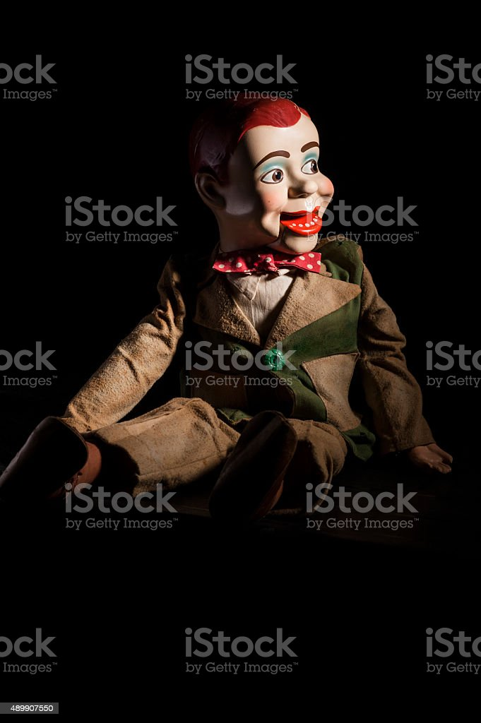 Scary ventriloquist's dummy stock photo