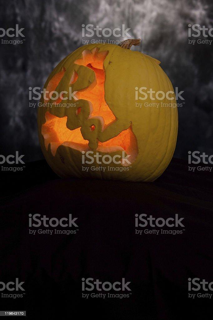 Scary yellow pumpkin royalty-free stock photo