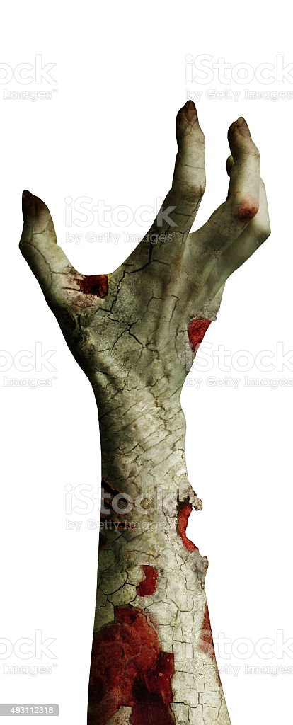 scary zombie hand with dirty fingers isolated on white stock photo