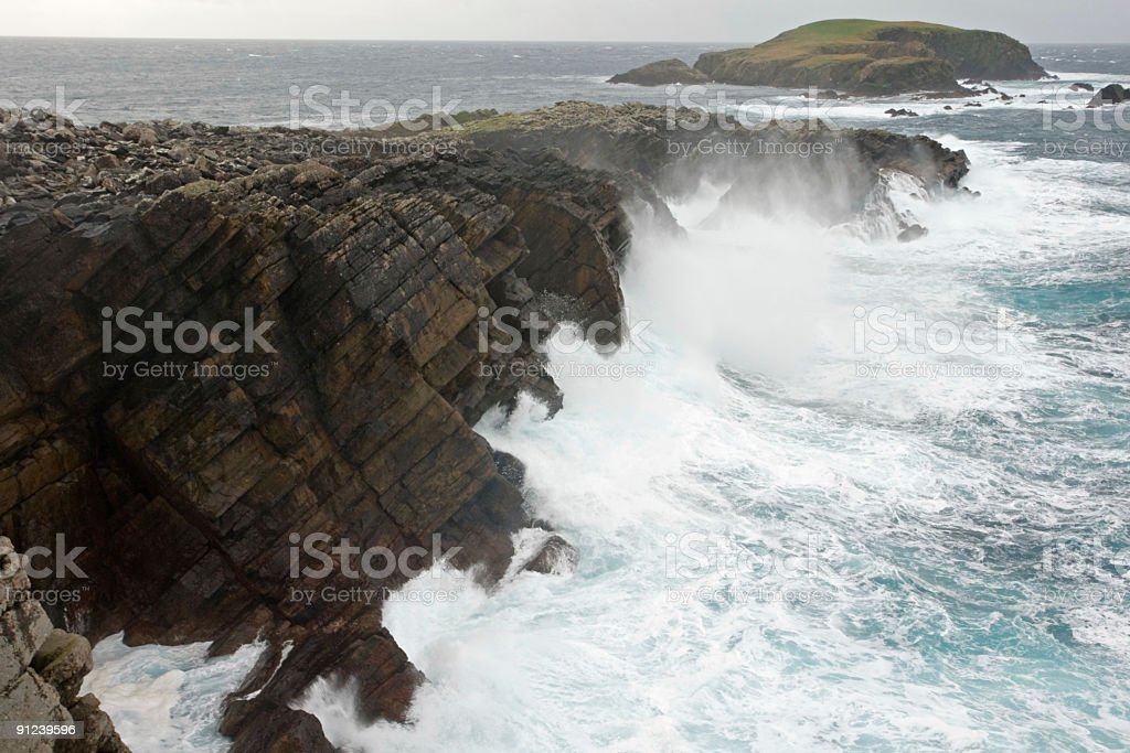 Scatness, Shetland during a gale in October royalty-free stock photo