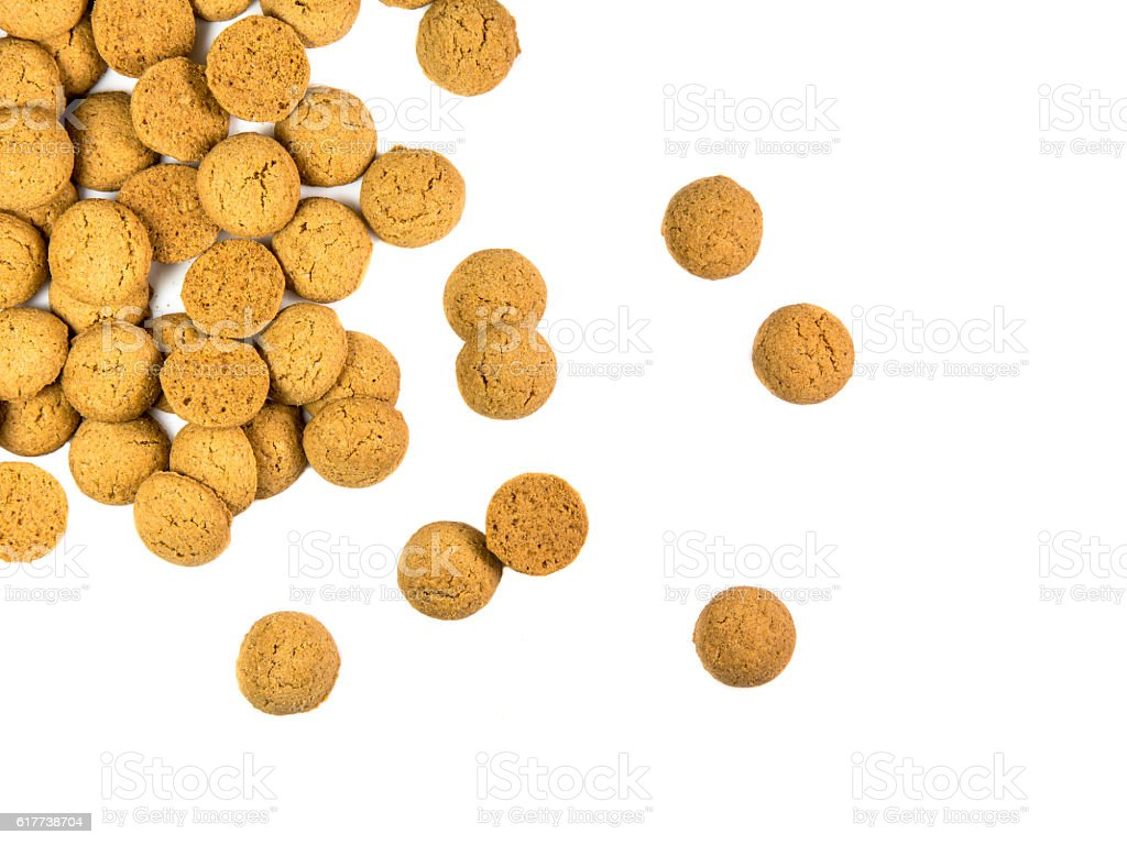 Scattered bunch of Pepernoten cookies stock photo